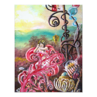 GARDEN OF THE MELISSA, bright red ,pink blue Card