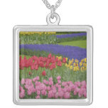 Garden of tulips, Grape Hyacinth and Square Pendant Necklace