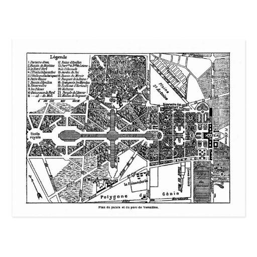 Garden of Versailles Map Postcard