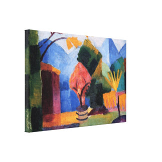 Garden on Lake Thun by August Macke Stretched Canvas Print