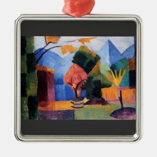 Garden on the lake of Thun by August Macke Square Metal Christmas Ornament