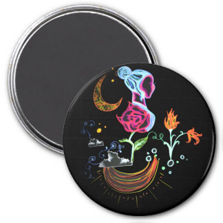 Garden Over the Clouds 3 Inch Round Magnet