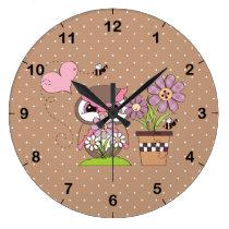 Garden Owl Large Clock