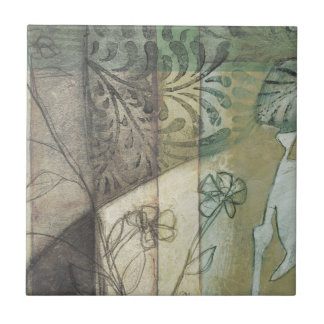 Garden Panel with Leaves, Flowers, and Grass Ceramic Tile