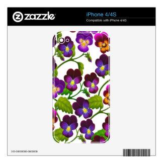 Garden Pansy Flowers Zazzle Skin iPhone 4S Skin