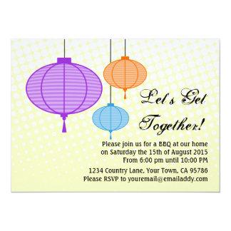 Garden Paper Lantern BBQ Dinner Party Invitation