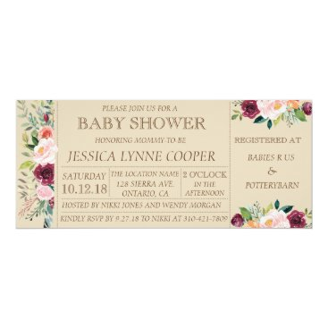 Beach Themed Garden Party Floral Baby Shower Invitation