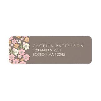 Garden Party Floral Wreath Address Labels Blush