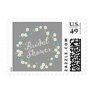 Garden Party Floral Wreath Bridal Shower Blue Postage Stamp