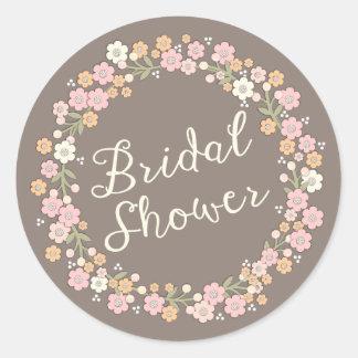 Garden Party Floral Wreath Bridal Shower Blush Classic Round Sticker