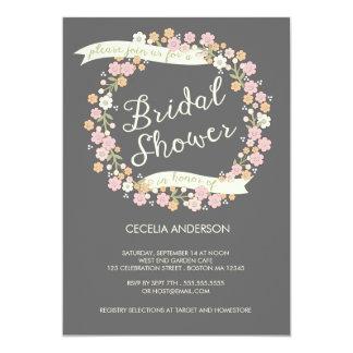 Garden Party Floral Wreath Bridal Shower Blush Invite