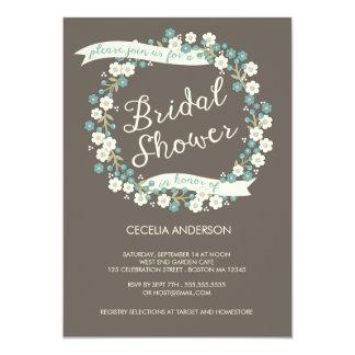 Garden Party Floral Wreath Bridal Shower Custom Invitation