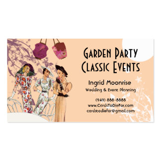 Garden Party in Peach and Plum Business Card Templates