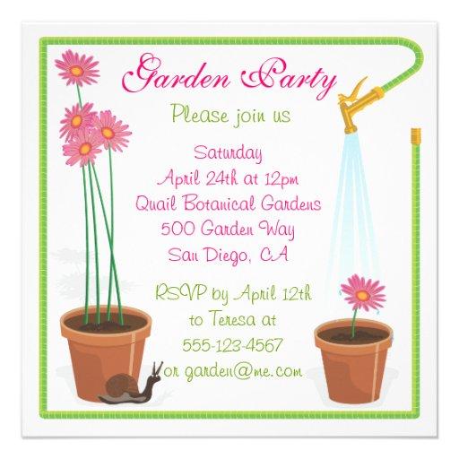 garden party invitation square invitation card zazzle. Black Bedroom Furniture Sets. Home Design Ideas