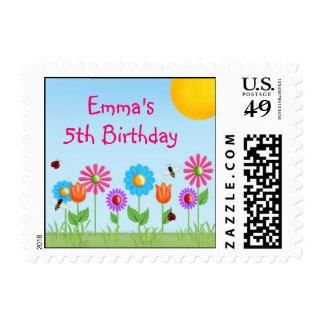 Garden Party Ladybug Postage Stamps