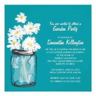 Garden Party Mason Jar White Daisies Personalized Invitation