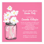 Garden Party Mason Jar & White Daisies Custom Invitation