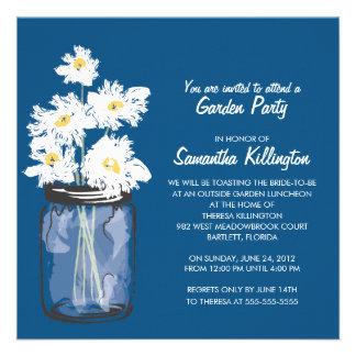Garden Party Mason Jar White Daisies Personalized Invitations