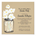 Garden Party Mason Jar & White Daisies Custom Invites