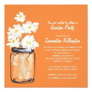 Garden Party Mason Jar & White Daisies 5.25x5.25 Square Paper Invitation Card
