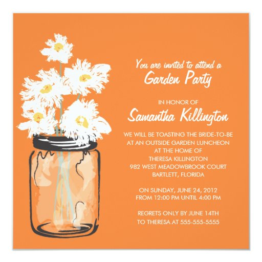 Garden Party Mason Jar & White Daisies 5.25x5.25 Square Paper Invitation Card