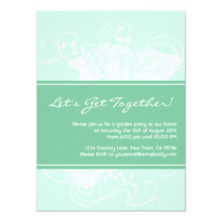 Garden Party Mint Floral Invitations