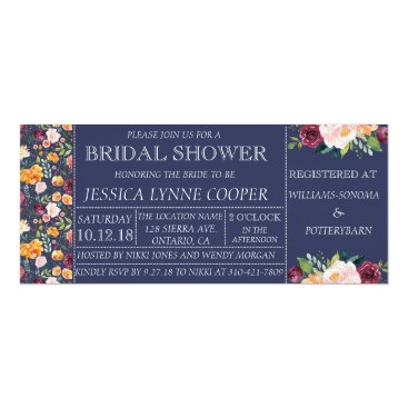Beach Themed Garden Party Navy Floral Bridal Shower Invitation