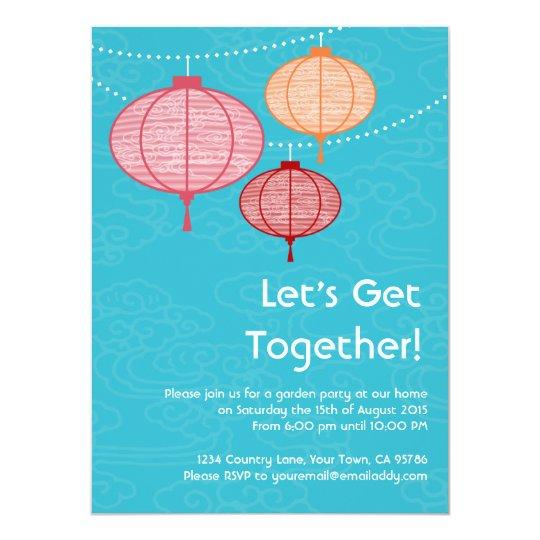 Garden Party Paper Lantern Invitations 5.5 x 7.5