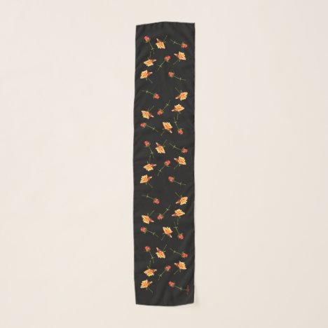 """""""Garden Party"""" Roses Long Your Name Scarf Black"""