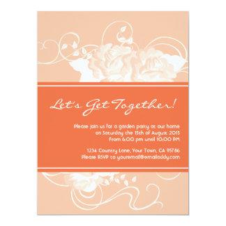 Garden Party Tangerine Floral Invitations
