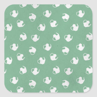Garden Party Teapot Print in Mint Square Sticker
