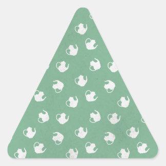 Garden Party Teapot Print in Mint Triangle Sticker