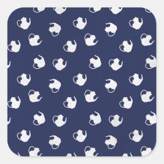 Garden Party Teapot Print in Navy Square Sticker