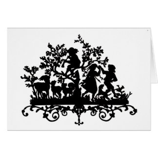Garden Party With Children Dancing Greeting Card