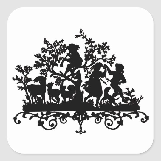 Garden Party With Children Dancing Square Sticker