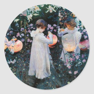 Garden Party with Japanese Lanterns Classic Round Sticker