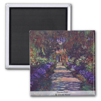 Garden Path By Claude Monet 2 Inch Square Magnet