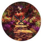 Garden Path by Claude Monet Round Clock