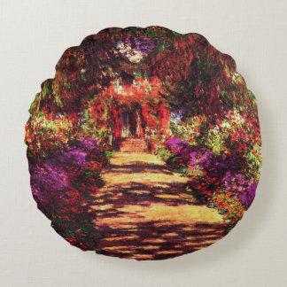 Garden Path by Claude Monet Round Pillow