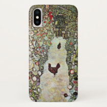 Garden Path w Chickens, Gustav Klimt, Art Nouveau iPhone X Case