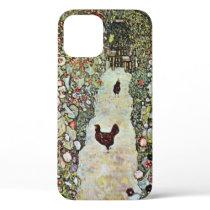 Garden Path w Chickens, Gustav Klimt, Art Nouveau iPhone 12 Case
