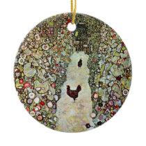 Garden Path w Chickens, Gustav Klimt, Art Nouveau Ceramic Ornament