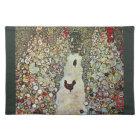 Garden Path w Chickens, Gustav Klimt, Art Nouveau Cloth Placemat