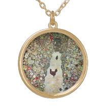 Garden Path w Chickens, Gustav Klimt, Art Nouveau Gold Plated Necklace