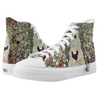 Garden Path w Chickens, Gustav Klimt, Art Nouveau High-Top Sneakers