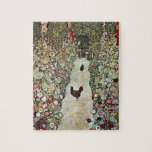 """Garden Path w Chickens, Gustav Klimt, Art Nouveau Jigsaw Puzzle<br><div class=""""desc"""">Garden Path with Chickens (1916) by Gustav Klimt is a vintage Victorian Era Symbolism fine art painting. A nature scene with chickens in the backyard flower garden on a farm. About the artist: Gustav Klimt (1862-1918) was an Austrian Symbolist painter and one of the most prominent members of the Vienna...</div>"""
