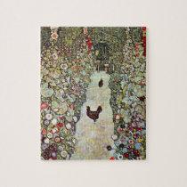 Garden Path w Chickens, Gustav Klimt, Art Nouveau Jigsaw Puzzle