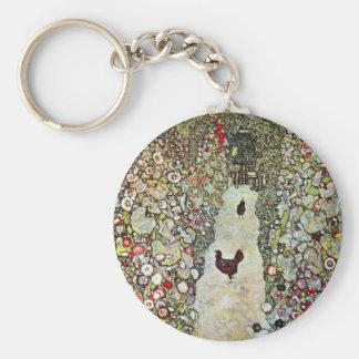 Garden Path w Chickens, Gustav Klimt, Art Nouveau Keychain