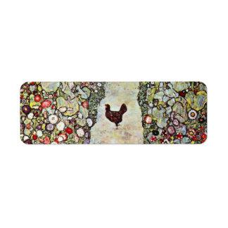 Garden Path w Chickens, Gustav Klimt, Art Nouveau Label