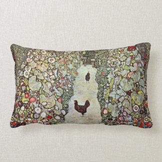 Garden Path w Chickens, Gustav Klimt, Art Nouveau Lumbar Pillow